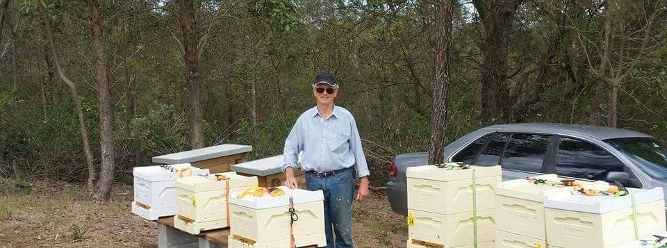Stan Edwards - Founder of BeeBiotics Australia - and his bees